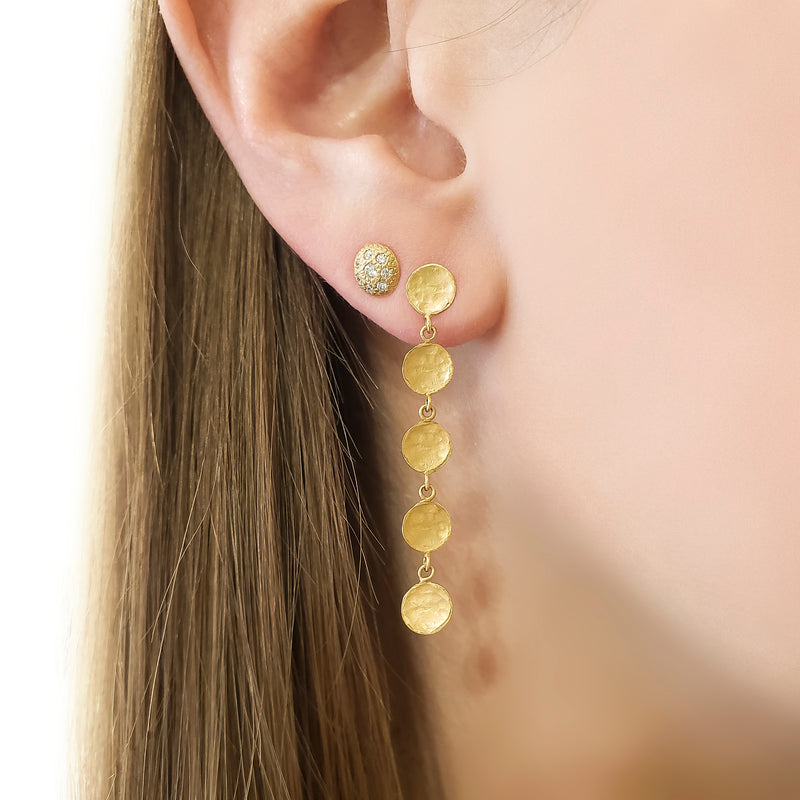 Diamond Stardust Button Stud Earrings