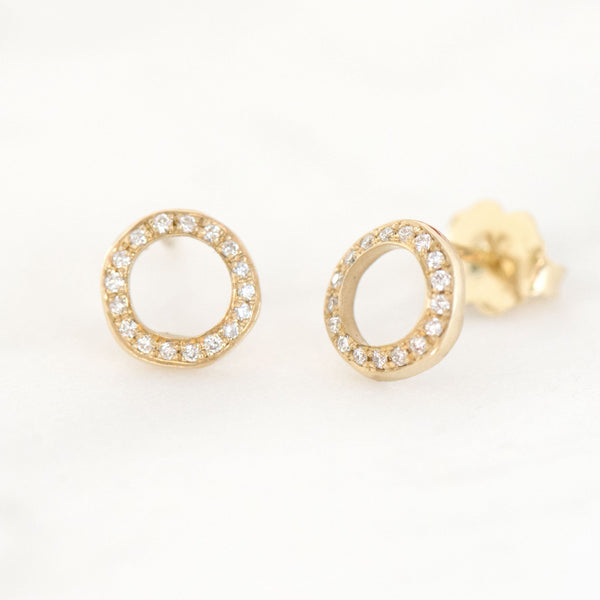 Open 'Lilydust' Diamond Stud Earrings - Anne Sportun Fine Jewellery