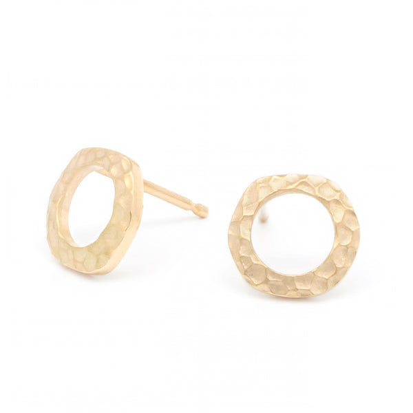 Open Hammered Circle Stud Earring - Anne Sportun Fine Jewellery