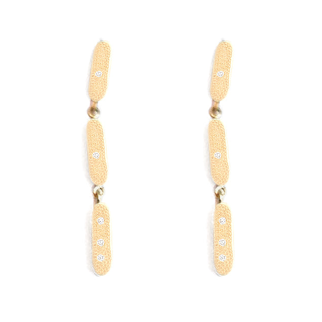 Triple Link Stick Diamond Gold Drops - Anne Sportun Fine Jewellery