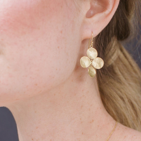 Concave Disc Charm Hook Earrings - Anne Sportun Fine Jewellery