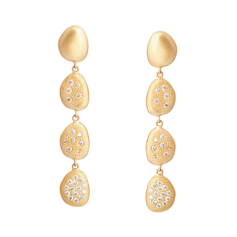"Long ""Petal"" Diamond Drop Earrings"