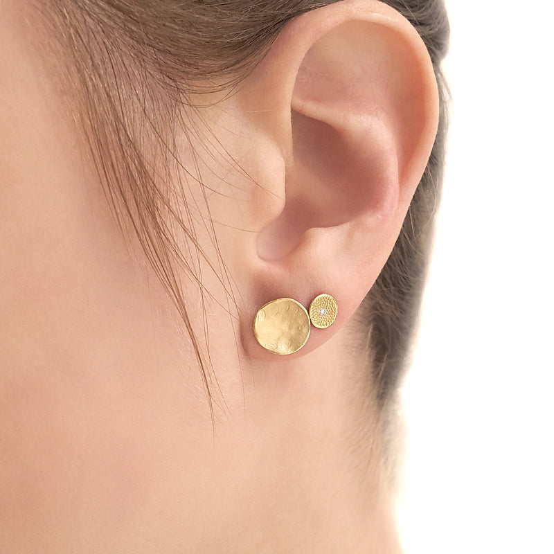 Hammered Concave Gold Disc Earrings
