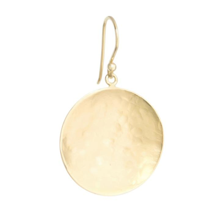 Large Hammered Disc Hook Earrings - Anne Sportun Fine Jewellery
