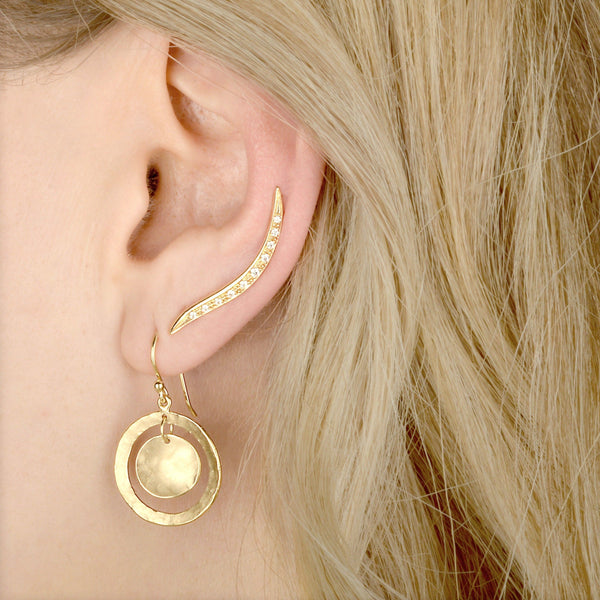 Open Hammered Double Disc Earrings - Anne Sportun Fine Jewellery