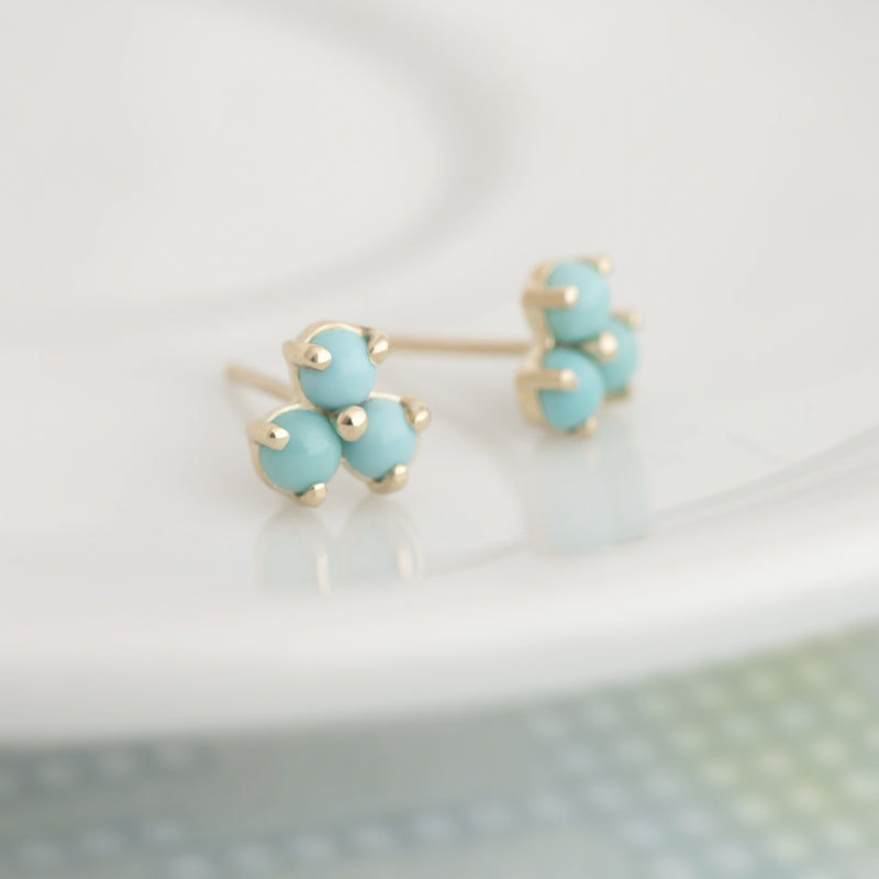 Mini Trillium Gemstone Stud Earrings - Anne Sportun Fine Jewellery