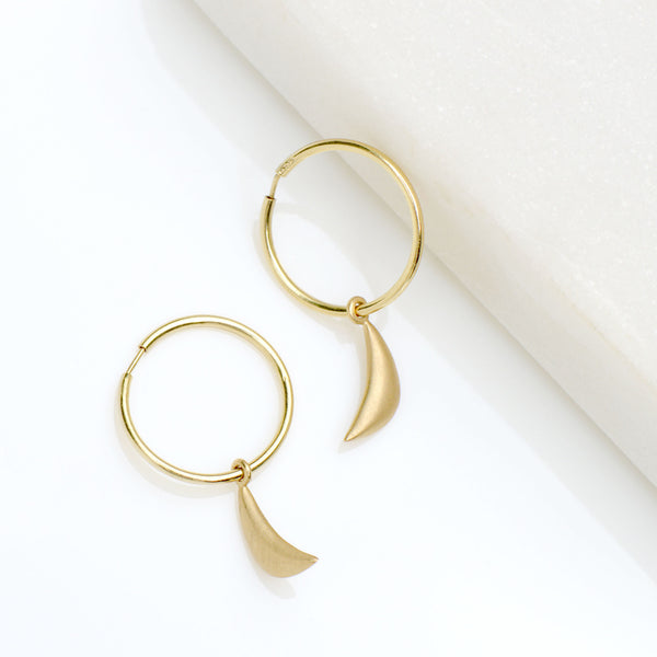 Sleeper Hoop Earrings w/ Mini Crescent - Anne Sportun Fine Jewellery
