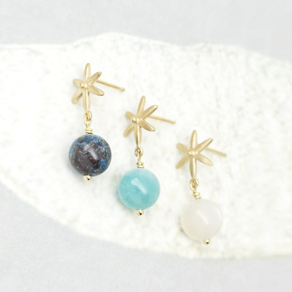 Star Post Earring w/ Gemstone Ball Drop - Anne Sportun Fine Jewellery