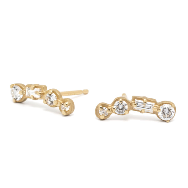 4 Stone Round and Baguette Diamond Climbers - Anne Sportun Fine Jewellery Toronto, Canada, and U.S.