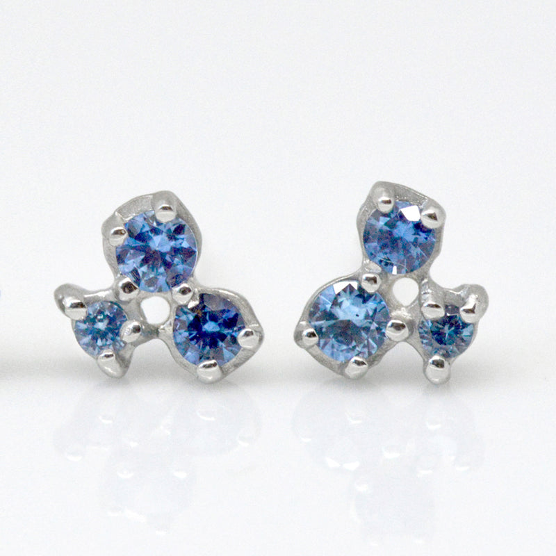 Cluster Trio Sapphire Earrings