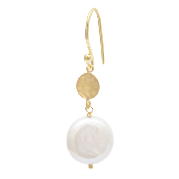 Hammered Disc Drop with Coin Pearl