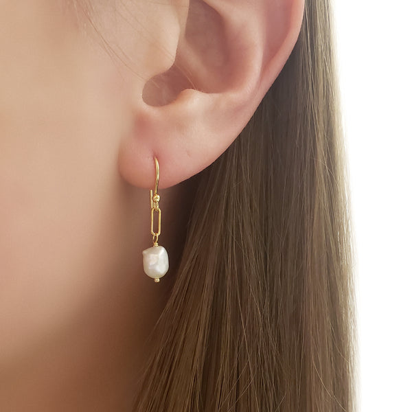 Pearl Nugget Paper Clip Earrings