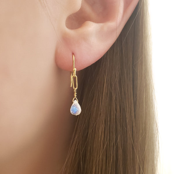 Moonstone Paper Clip Earrings