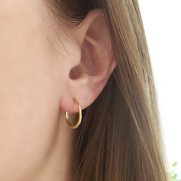 Small Hammered Open Hoop Earrings