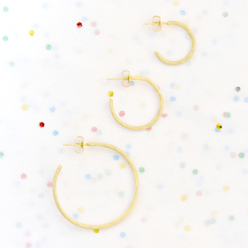 Large Hammered Open Hoop Earrings - Anne Sportun Fine Jewellery