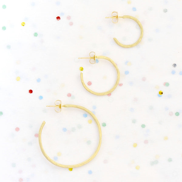 Small Hammered Open Hoop Earrings - Anne Sportun Fine Jewellery