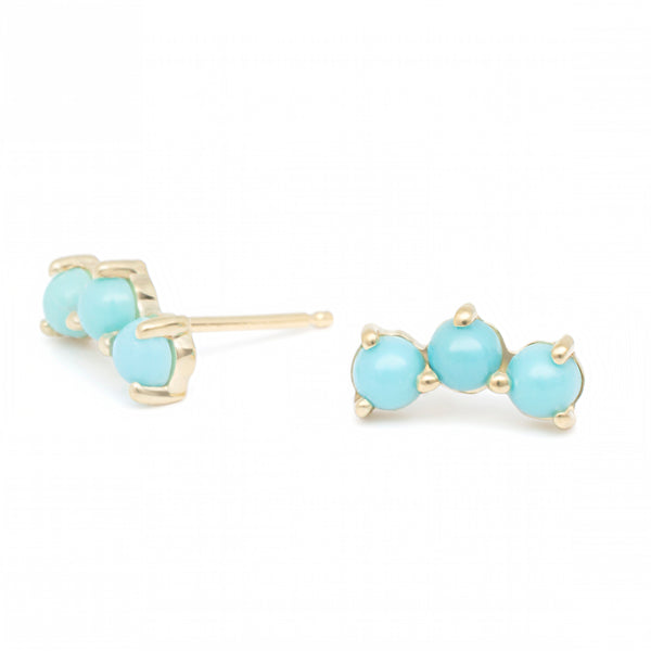 Turquoise Crescent Trio Climber Earrings - Anne Sportun Fine Jewellery
