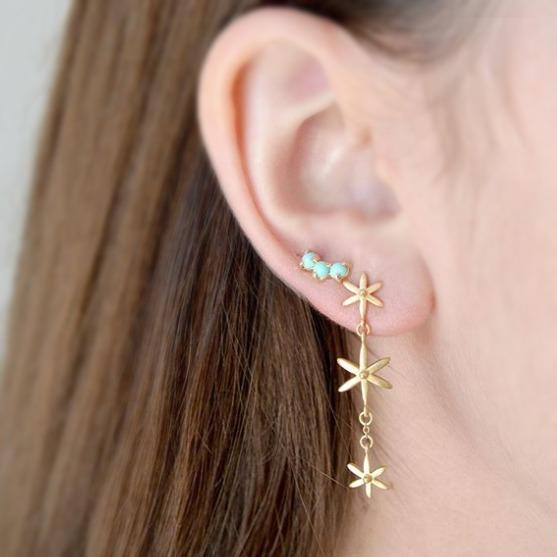 3 Star Dangle Earrings - Anne Sportun Fine Jewellery