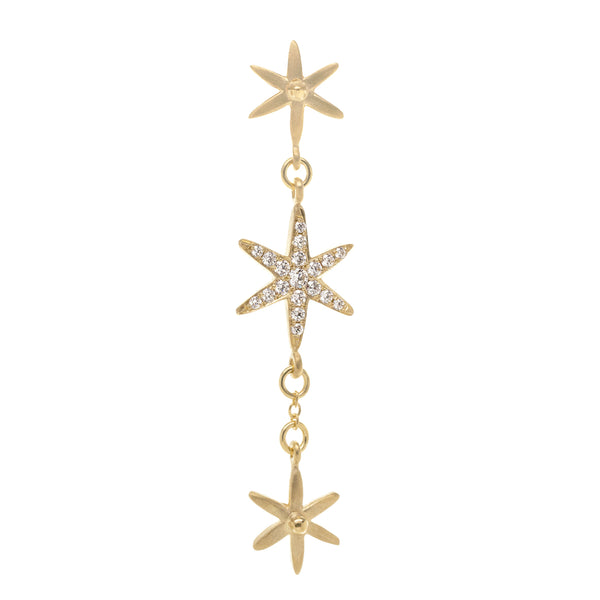 3 Star Diamond Pave Dangler Earring - Anne Sportun Fine Jewellery