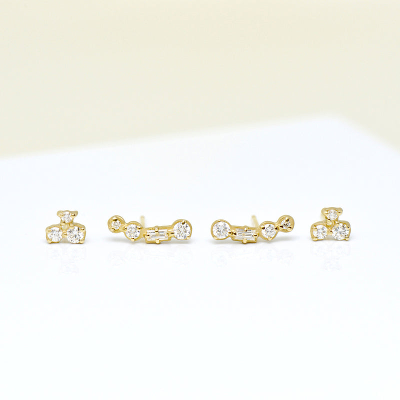 4 Stone Round and Baguette Diamond Climbers - Anne Sportun Fine Jewellery
