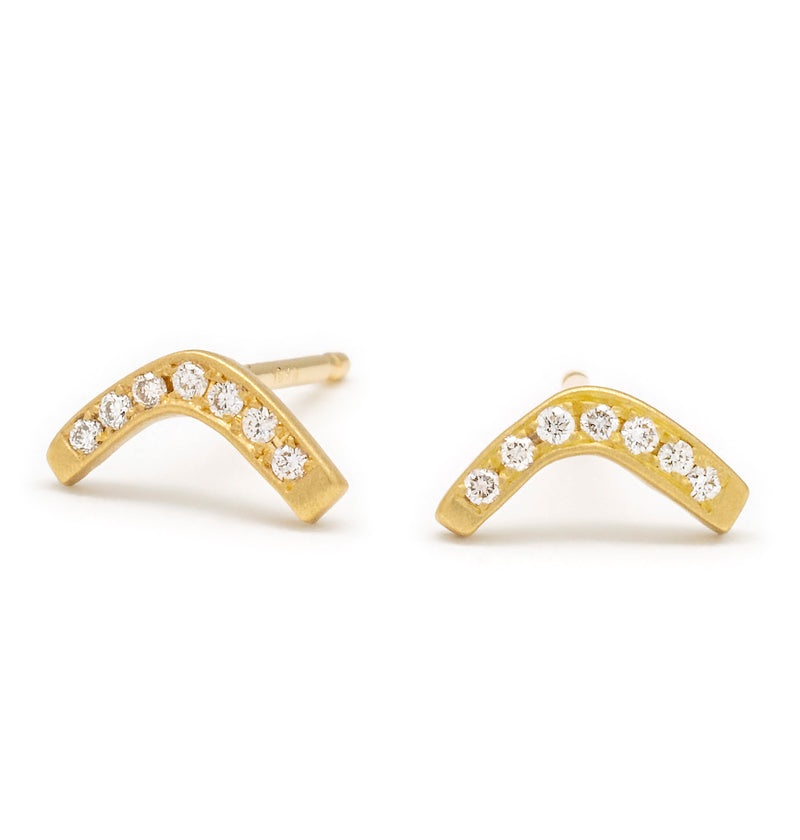 Diamond Pave Boomerang Stud Earrings - Anne Sportun Fine Jewellery