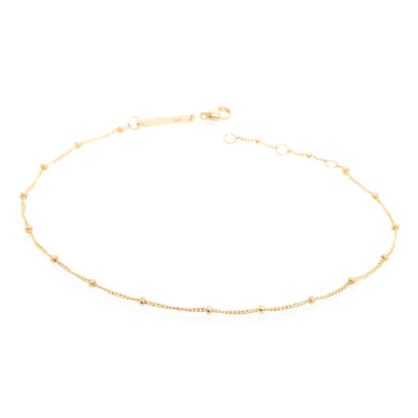 CURB AND BEAD CHAIN ANKLET - Anne Sportun Fine Jewellery