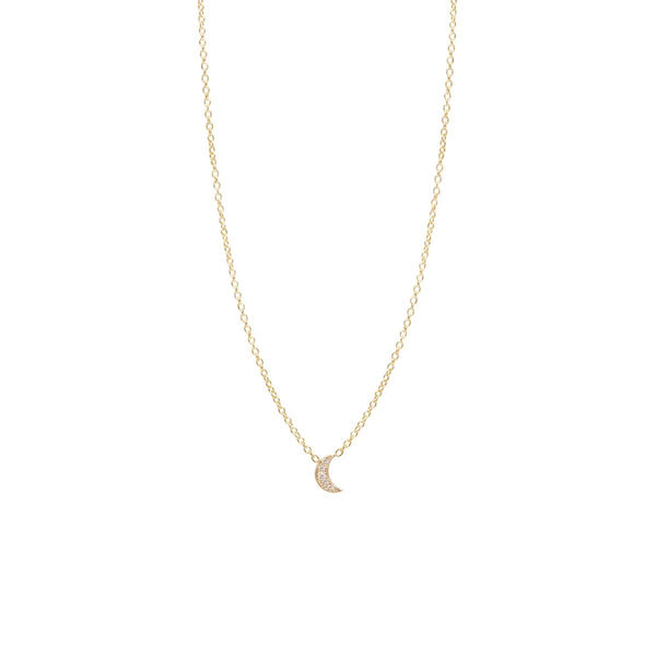 ITTY BITTY PAVE DIAMOND CRESCENT MOON NECKLACE - 14k GOLD