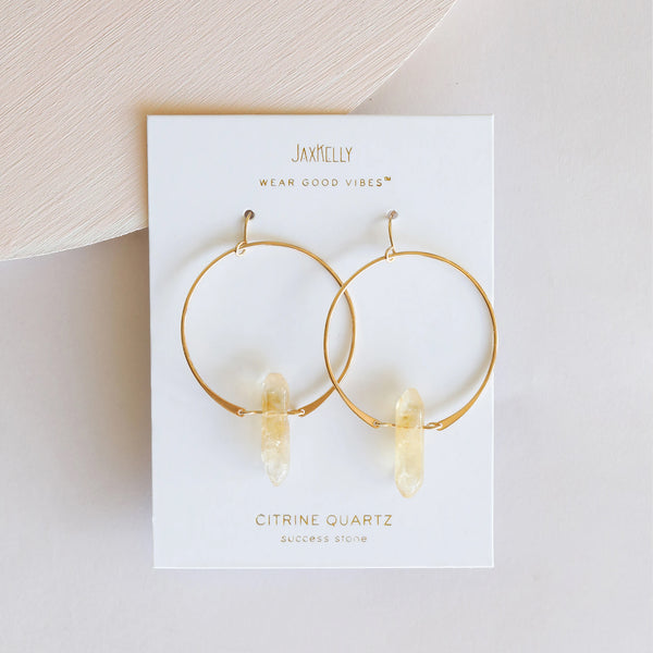 Hoop Earrings - Citrine