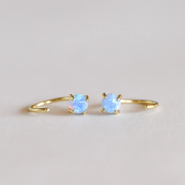 Opal Huggie Earrings