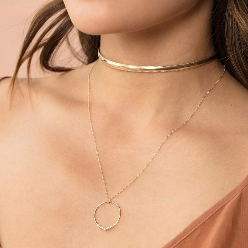 HALO CIRCLE NECKLACE | GOLD