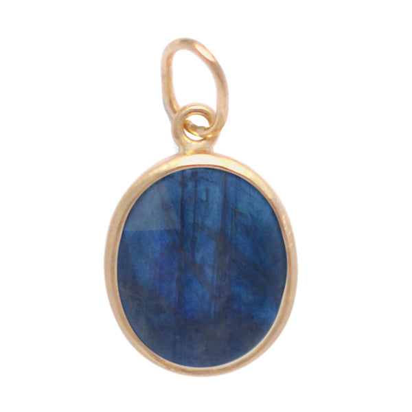 Smooth Oval Labradorite Bezel Set Charm - Anne Sportun Fine Jewellery