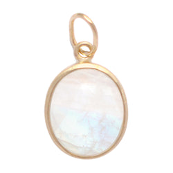 Smooth Oval Moonstone Bezel Set Charm - Anne Sportun Fine Jewellery