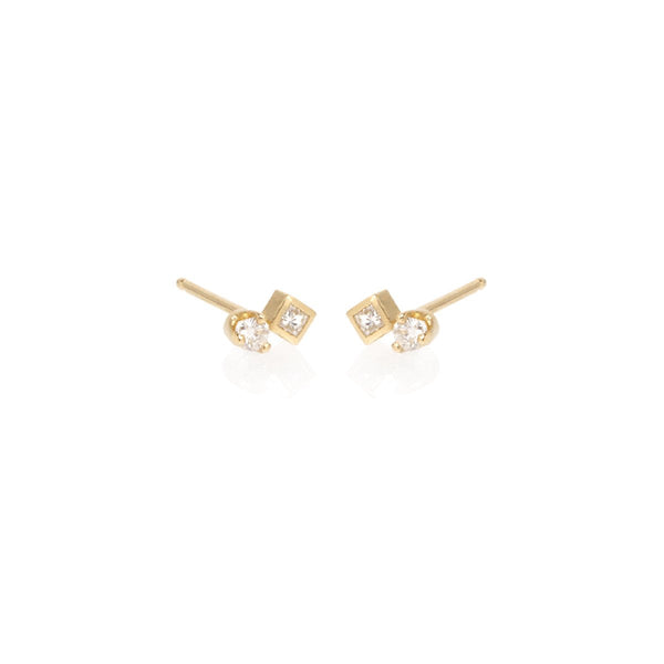 ROUND AND SQUARE DIAMOND STUD EARRINGS - 14K YELLOW GOLD