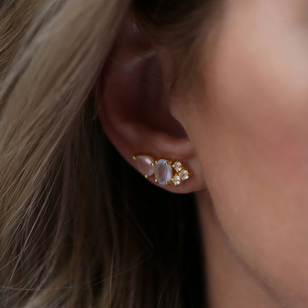 MULTI JEWEL CLIMBERS | GOLD | ROSE PINK CHALCEDONY