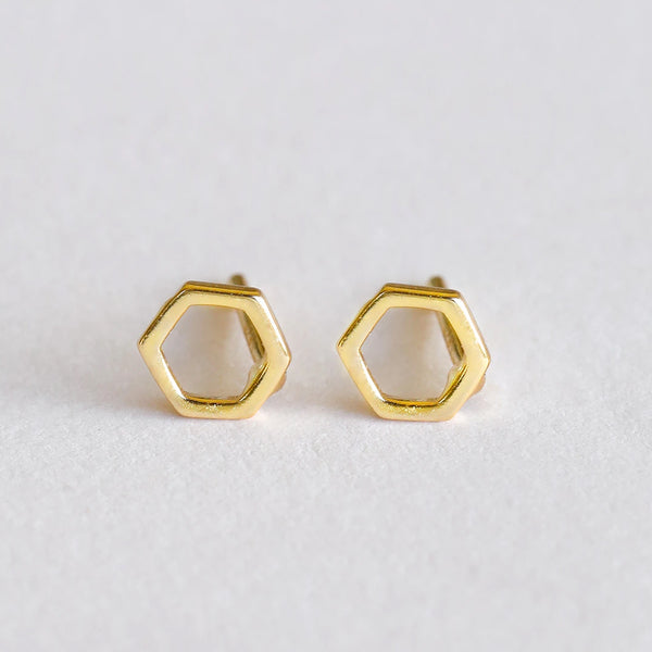Minimalist Hexagon Earrings