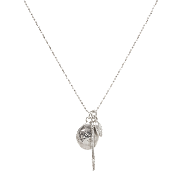 Oval Cup, Stick, and Seed Silver Necklace