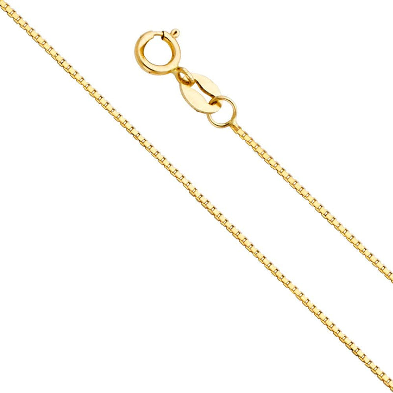 SOLID BOX LINK CHAIN NECKLACE - 10K YELLOW GOLD