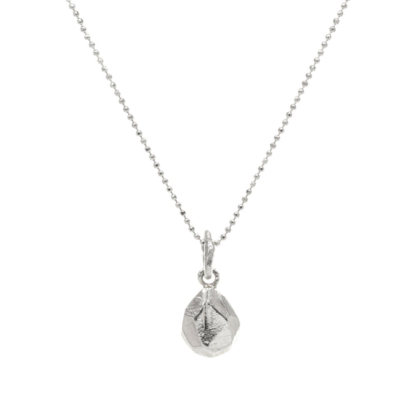 Faceted Teardrop Silver Necklace