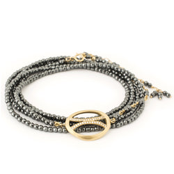 Diamond Arc Flow Hematite Wrap - Anne Sportun Fine Jewellery