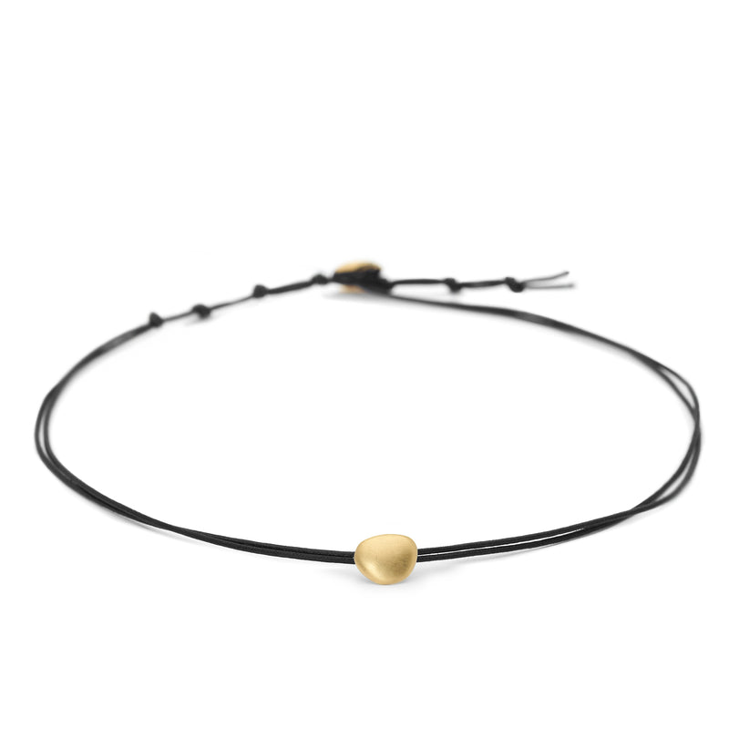 Black Linen Cord + Petal Choker Necklace - Anne Sportun Fine Jewellery