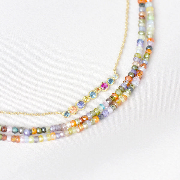 Multi-Coloured Sapphire Bar Necklace - Anne Sportun Fine Jewellery