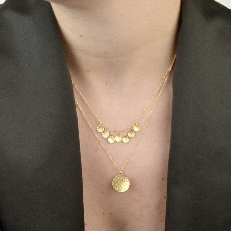 7 Hammered Disc Cluster Necklace - Anne Sportun Fine Jewellery Toronto, Canada, and U.S.