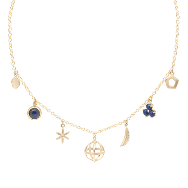 Blue Sapphire Multi Charm Necklace - Anne Sportun Fine Jewellery