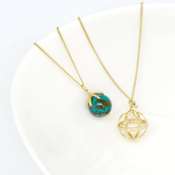 Gold Pendant Gemstone Sphere Necklace - Anne Sportun Fine Jewellery
