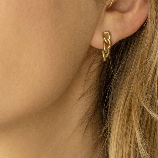 LARGE CURB CHAIN DROP EARRINGS - 14K GOLD
