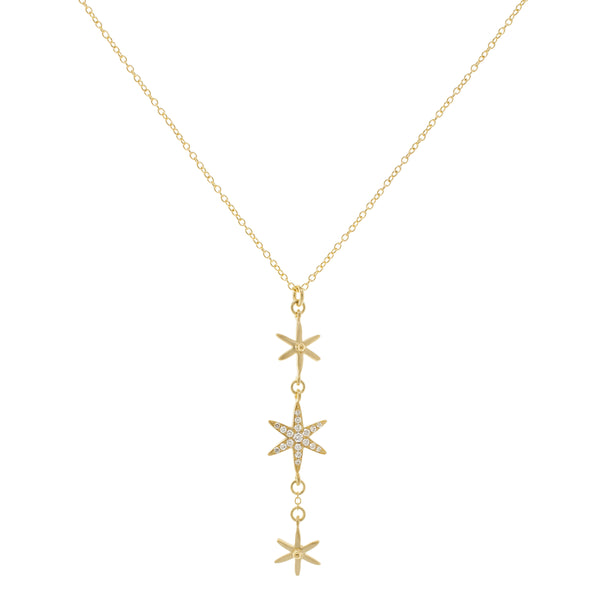 3 Star Pave Pendant Necklace - Anne Sportun Fine Jewellery