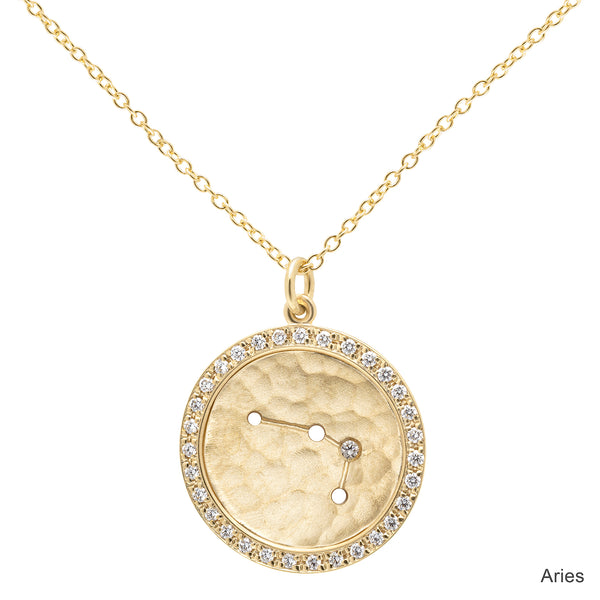 Pave Halo Celestial Sign Necklace - Anne Sportun Fine Jewellery