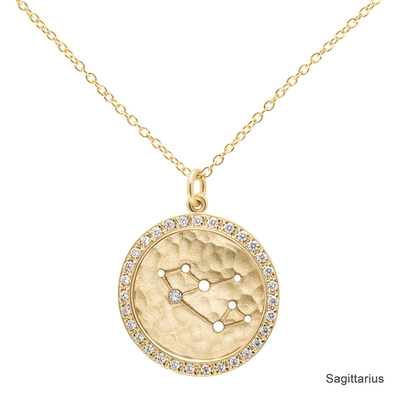 Pave Halo Celestial Sign Necklace - Anne Sportun Fine Jewellery Toronto, Canada, and U.S.