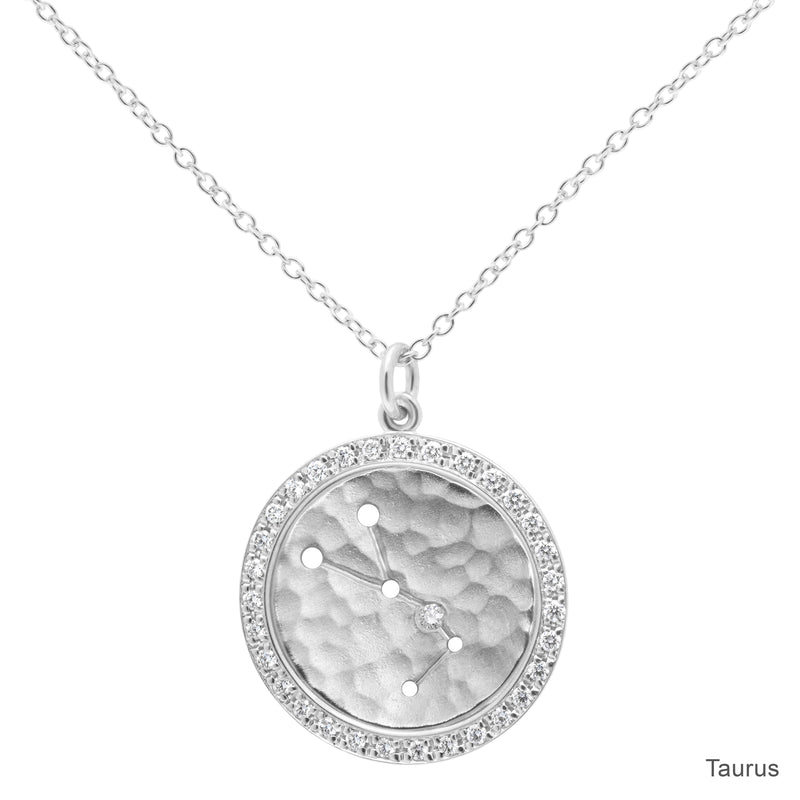 Pave Halo Celestial Sign Necklace