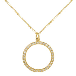 Halo Diamond Pave Open Circle Necklace - Anne Sportun Fine Jewellery